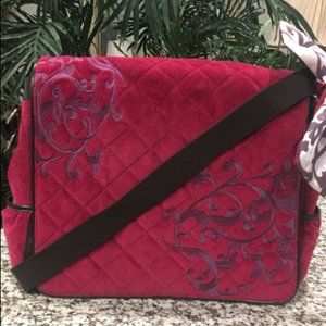 FRANKLIN COVEY BURGUNDY EMBROIDERED BAG